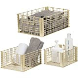 Set of 3 Metal Wire Nesting Storage Baskets with Handles/Gold Tone Decorative Boxes for Home