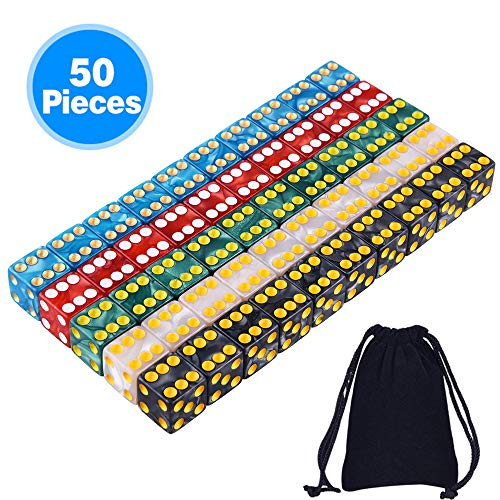 SIQUK 50 Stück 6 Seitiges Spielwürfel Set 5 Perlenfarben Rechteckwürfel für Tenzi, Farkle, Yahtzee, Bunco oder Teaching Math mit freiem Beutel