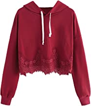 MAKEMECHIC Women's Casual Loose Sweatshirt Drawstring Lace Trim Crop Hoodie Top