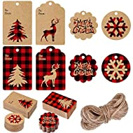 240 Pieces Christmas Paper Tags Kraft Gift Tags Hang Labels with Red and Black Plaid Snowflake Christmas Tree Elk Patterns and 66 Feet Twine Rope for Christmas, 8 Styles