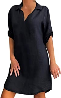 Newkly Fashion Women Plus Size Solid Cotton Linen Turn Down Collar Loose Shirt Dress