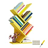UMENEY Estantería de árbol, torre de libros de madera, estantería de 5 estantes, soporte para libros, CDs, álbumes, estante de almacenamiento de exhibición para el hogar (amarillo)