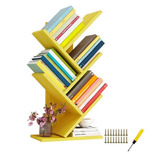 QUMENEY - Libreria a 5 ripiani in legno, libreria con albero di qualità, per libri, CD, album e documenti, per la casa, ufficio (giallo)