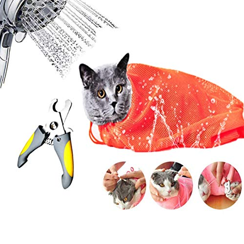 Cat Shower Net Bag and Nail ScissorsAdjustable Multifunctional Breathable Antibite and Scratch DagCat Wash Shower Bag Dog and Cat PetTrimmerSuitable For Cat BathingManicureInjectionMedication