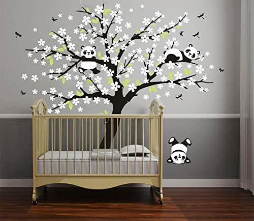 LUCKKYY Three Playful Pandas Bear on Cherry Blossom Tree Wall Decal Tree Wall Sticker Nursery product image