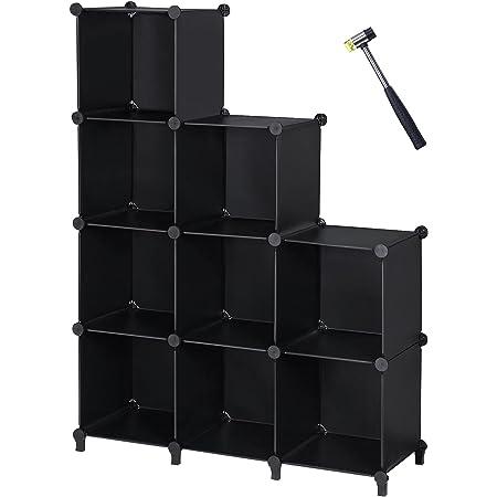 ANWBROAD Organiseur de rangement en forme de cube 9 cubes de bricolage modulaire Armoire de rangement étagère de rangement en caoutchouc marteau en plastique pour chambre à coucher bureau LCS009B