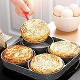 Padella per frittata a 4 fori, padella per pancake antiaderente Colazione salutare Padella per uova in alluminio per fornello per fornello a gas, fornello elettrico in ceramica (A)