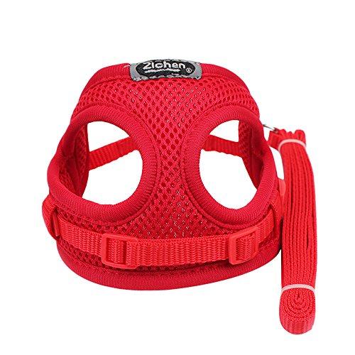 Yowablo Halfter für Hunde Kopfhalfter Sicherheitsgurt Katzen Trainingsgeschirr für Hunde Katzen Katzenleine Hundeleine Schleppleine für Hunde (20-38cm,2Rot)