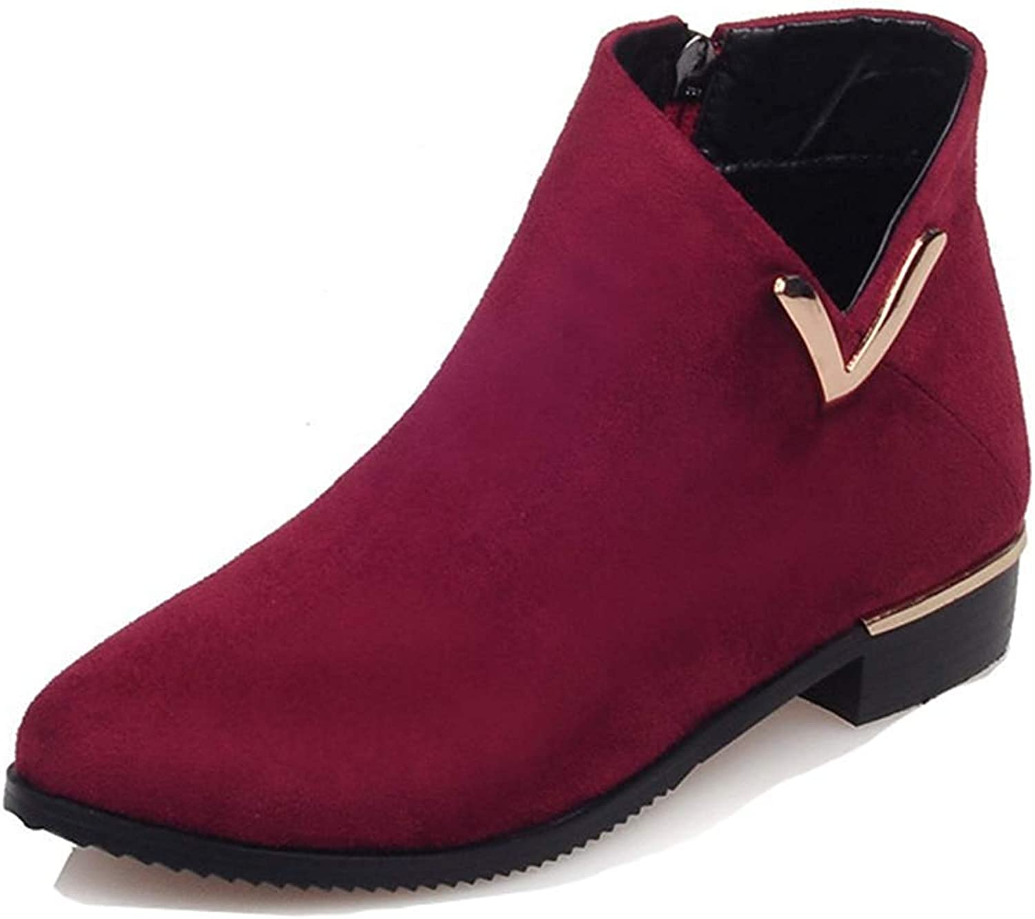 Women's Chunky Low Heel Booties - Faux Suede Inside Zip Up - Round Toe Ankle Boots with Zipper