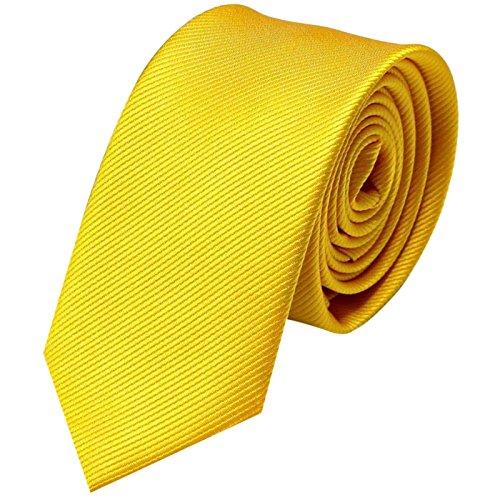 GASSANI Krawatte 6cm Breite Schmal | Gelbe Rips Herrenkrawatte zum Sakko | Slim Schlips Binder einfarbig mit feinen Streifen