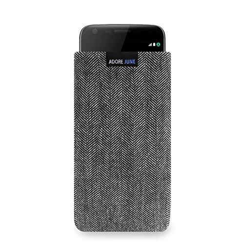Adore June Business Tasche für LG G5 Handytasche aus charakteristischem Fischgrat Stoff - Grau/Schwarz | Schutztasche Zubehör mit Bildschirm Reinigungs-Effekt | Made in Europe