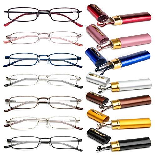 VEVESMUNDO® Lesebrille Metall Klassische Scharnier Schmal Stil Brille Lesehilfe Augenoptik Vollrandbrille Mit Etui (7 Farben Pack, 2.0)