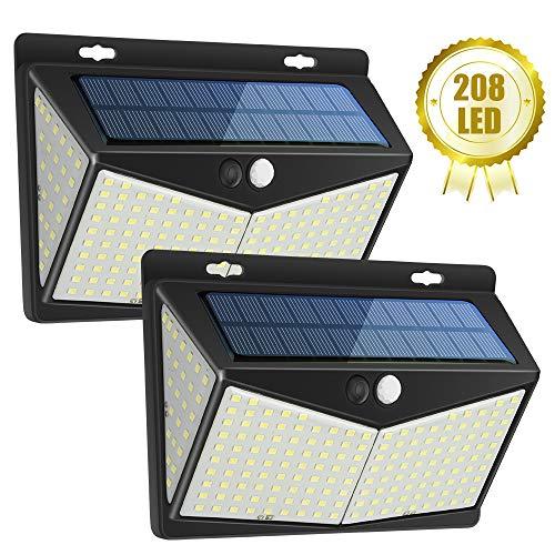 Luce Solare LED Esterno, 208 LED Lampada Solare Super Luminosa Wireless Luce Solare con Sensore di Movimento, Impermeabile Luci Solari da Parete con 3 Modalità & Grandangolo 270° per Giardino(2 Pezzi)