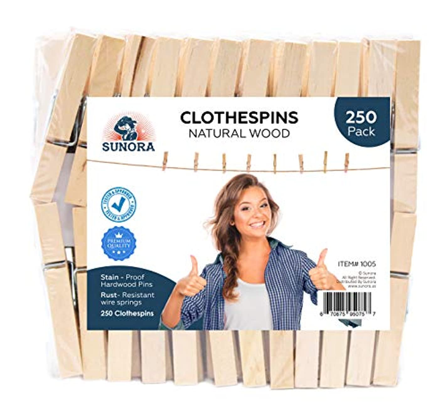 SUNORA Clothespins, Standard Natural Wooden, Stain Proof, 3 inch, 250 Value Pack, for Multipurpose Everyday Laundry, Clothes, Towels, Craft, Photos, Pictures, Decor, Baby Shower, Art Wall