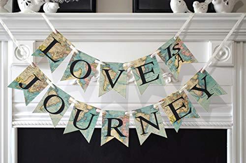 Love is a journey banner, travel wedding theme decoration, travel bridal shower decor, world map