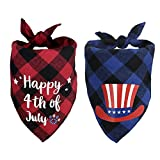 SHOKAN 2Pcs 4th of July Dog Bandana, American Flag Independence Day Dog Triangle Bibs, Adjustable Plaid Pet Kerchief Scarf for Cats, Puppies, Small, Medium, Large Dogs Patriotic Party Costume