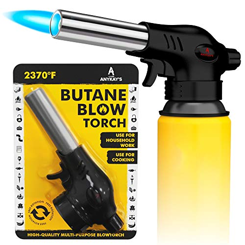 Multi-purpose Butane Blowtorch with Adjustable Flame and Piezo Ignition for Cooking and Culinary, Desserts, Creme Brulee, BBQ, Baking; Craft, Soldering, Welding, Bending, Thawing (Fuel Not Included)