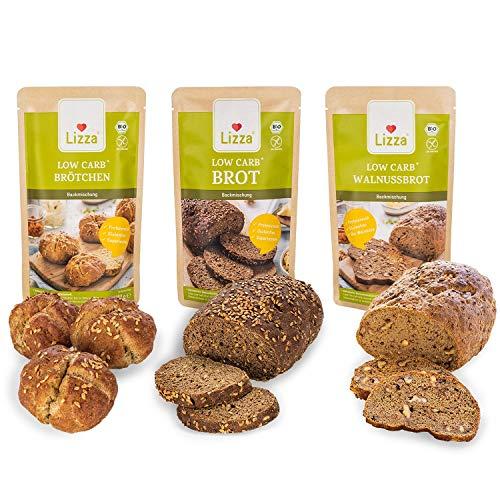 Lizza Low Carb Brot-Mix 3x 250g Backmischungen in 3 Varianten | Bis zu 89% weniger Kohlenhydrate | 100% Bio,...