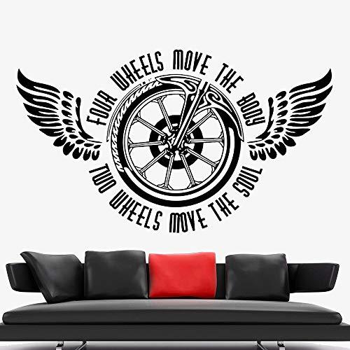 Motorfiets muursticker decoratie brand fiets chopper locomotief ruiter vleugels wiel vinyl muurtattoo woondecoratie jongen slaapzaal
