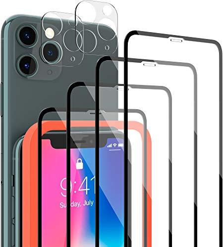 [6 Pack] 4 Stück LYMANO Panzer-Folie Glas Full Screen für iPhone 11 Pro Display-Schutzfolie Schutzglas Glass Protector Schutz Folie (5,8 Zoll) + 2 Stück Kameraschutz Kamera Linse Glas