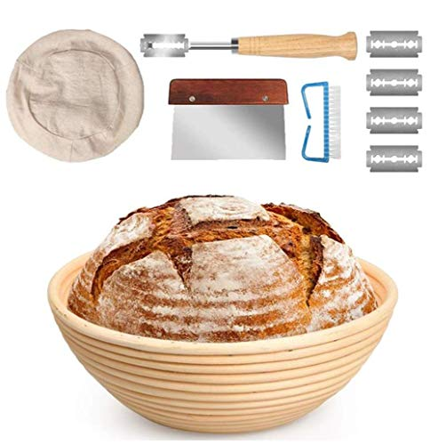 10 Inch Bread Banneton Proofing Basket Set with Dough Bowl, Stainless Steel Scraper, Bread Lame, Brotform Liner and Cleaning Brush - Bread Tools Perfect for Professional& Home Bread Bakers