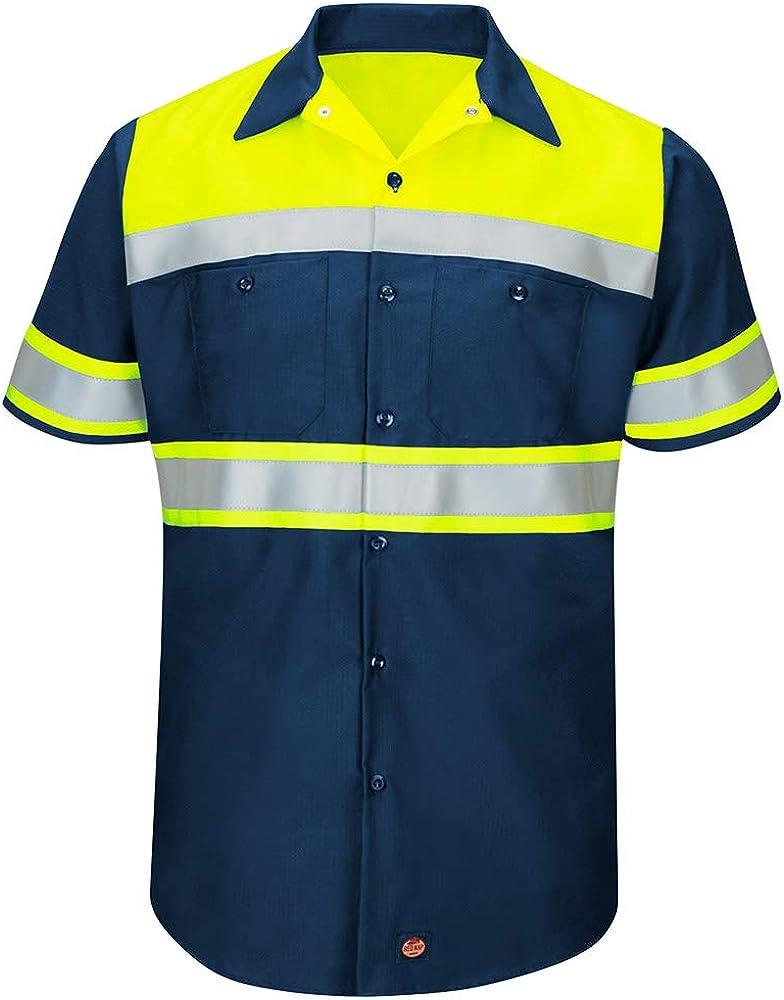 Red Kap Men's Hi-vis Ss Colorblock Ripstop Work Shirt-Type O, Class 1: Clothing