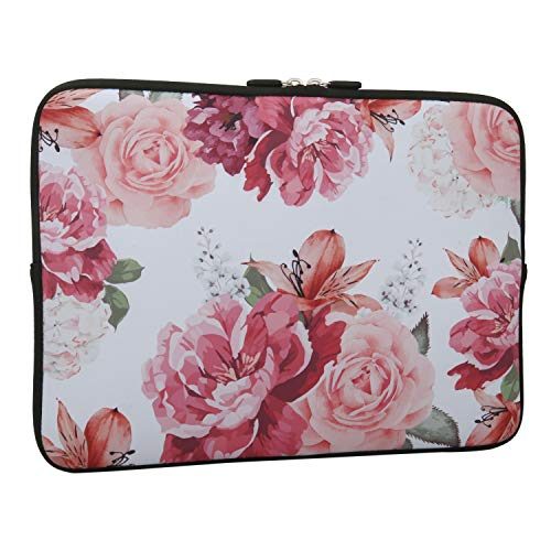 Pink Flower Laptop Sleeve Case Bag Cover, Water Repellent Neoprene Light Weight Carrying Skin Bag Fit 13-13.3 Inch MacBook Pro, MacBook Air, Notebook