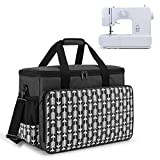 Yarwo Sewing Machine Carrying Case with Bottom Wooden Board, Universal Sewing Machine Bag Compatible with Most Major Sewing Machine and Accessories, Black with Arrow Pattern