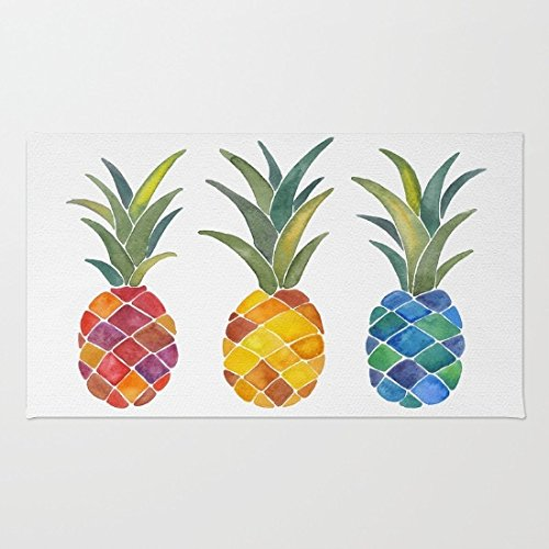 Doormat Floor Mat Rug Inside Rubber Doormat 23.6''(L) x 15.7''(W) Pineapples Rug