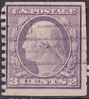 US Postage 1914 Stamps - George Washington 3c - Violet or deep Violet Flat Plate .