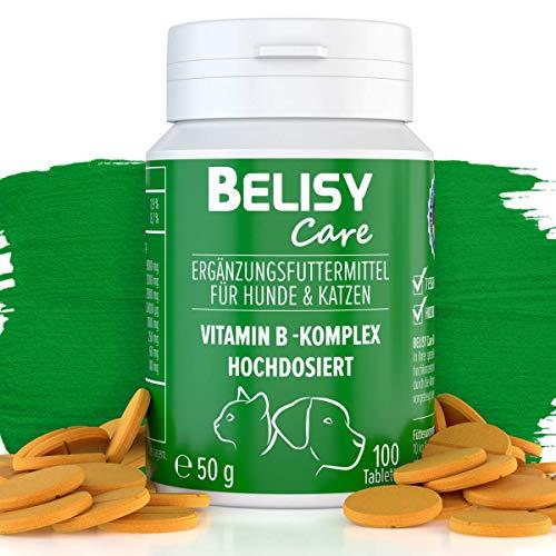 BELISY Vitamin B Komplex für Hunde & Katzen - 100 Tabletten - Mit 7 B-Vitaminen, Vitamin K & Calcium - Hochdosiert - Ideal für alle Rassen - Ohne Getreide & Milcherzeugnisse