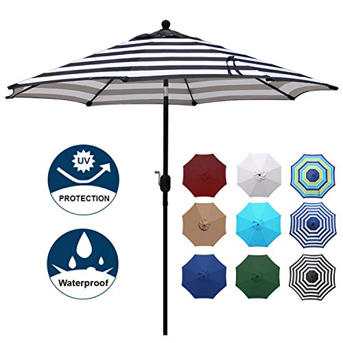 Blissun 9' Outdoor Aluminum Patio Umbrella, Striped Patio Umbrella, Market Striped Umbrella with Push Button Tilt and Crank (Black and White)