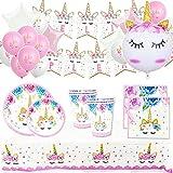 Fiesta Cotigo - Fiesta y Cumpleaños de Unicornio para Niños o Adultos. Kit de Vajilla Desechable y Accesorios de Decoración para 16 invitados(Completo Ahorro)