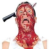 NET TOYS Halloween Harreif Messer im Kopf Horror Accessoire Grusel Haarreifen Kopfbedeckung Kostüm...
