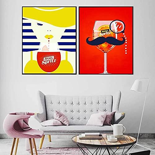 zuomo Aperol Wine Canvas Pinturas Vintage Comida Bebida Cocina Decoración del hogar Carteles e Impresiones Imágenes artísticas de Pared para Sala de Estar Dormitorio 50x70cm Sin Marco
