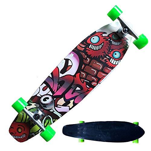 fgg Skateboard Bailando longboards Freestyle Fessional Mini para Principiantes y Tablero de Scooter deformado 8-caply Arce y batería de PU Suave 94 * 25 cm fengong