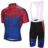 SKYSPER Ciclismo Maillot Hombres Jersey + Pantalones Cortos Culote Mangas Cortas de Ciclismo Conjunto Ropa Equipacion 3D...