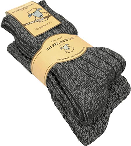 normani 2 Paar Schafwollsocken mit ABS Haussocken mit Schafwolle Farbe Anthrazit Größe 35-38