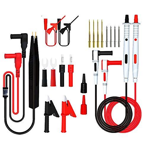 I3C Kit de medición de multímetro eléctrico, pinza de cocodrilo, clip de prueba SMD-IC con mini pinza, pinzas de prueba y sonda de precisión intercambiable (21 unidades)