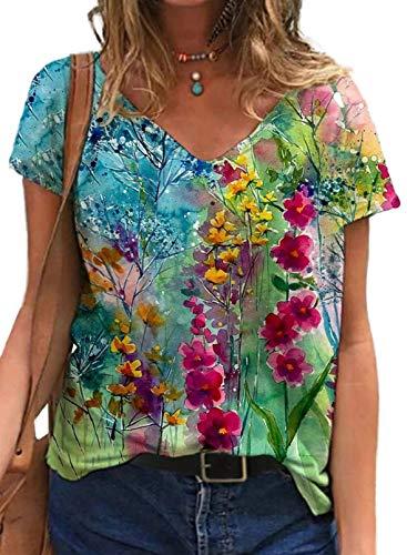 CORAFRITZ Las mujeres de manga corta con estampado floral superior de verano con cuello en V sueltas camisetas casuales blusa vintage
