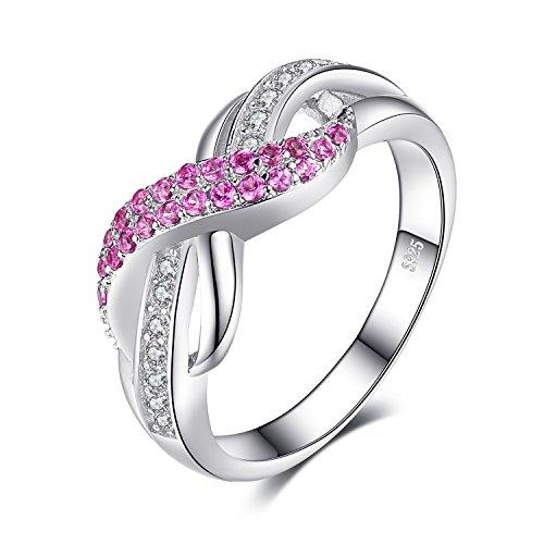 JewelryPalace Für Immer Liebe Infinity Rosa Saphir Jahrestag Ring Vertrauensring Damen Ring 925 Sterling Silber Größe 51 To 59