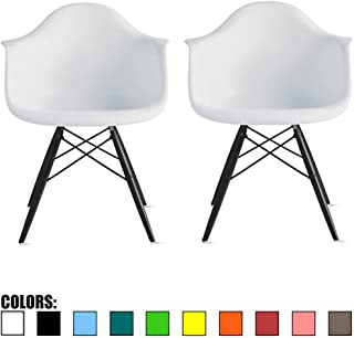 2xhome Set of 2 White Mid Century Modern Designer Contemporary Vintage Office Chairs Dining No Wheels Living Kitchen Guest With Arms Armchairs Solid Back Accent Plastic Dark Black Wood Wooden Legs DAW