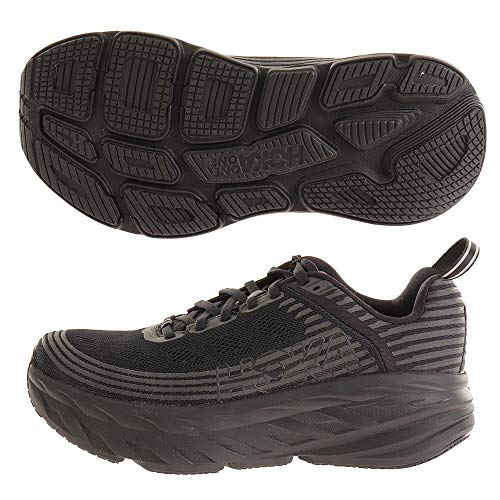 HOKA ONE ONE Women's Bondi 6 Running Shoe, Black/Black, 8.5 D(W) US