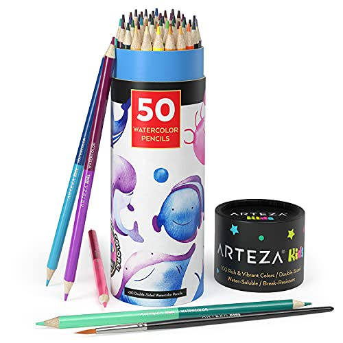Arteza Kids Watercolor Pencils, 100 Colors, 50 Double-Sided Pencil Crayons with Nylon Watercolor Brush, Pre-Sharpened, Art and School Supplies for Painting, Drawing, and Doodling