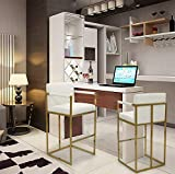 Iconic Home Quest Bar Stool Chair PU Leather Upholstered Square Arm Design Architectural Goldtone Solid Metal Base Modern Contemporary, Cream