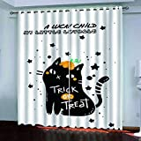 KJQTEN Blackout Curtains for Bedroom 200x214cm( W x H ) 2 Panels Curtains For Bedroom Eyelet Printed Blackout Curtains Thermal Eyelet Panels Halloween Black Cat For Kids Living Room Curtains