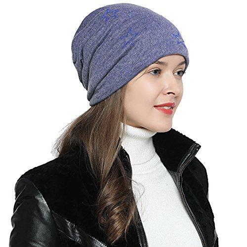 DonDon Mujer Gorro de Invierno con Estrella Plata estrás Estrella e Forro Interior Suave - Azul Claro - Azul