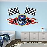 Custom Racing Flags Name Wall Decal for Boys Race Nursery Baby Room Mural Art Decor Vinyl Sticker LD06 (26'W x 16'H)