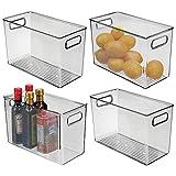 mDesign Juego de 4 fiambreras para el frigorífico – Cajas de plástico para guardar alimentos – Organizador de nevera para lácteos, frutas y otros alimentos – gris oscuro