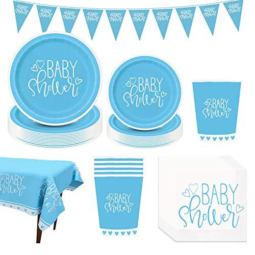 Amycute 88-teiliges Baby Shower Partygeschirr Set, Baby Shower Party Deko,Babydusche Dekorations - Banner,Teller Becher ,Servietten, Geschirr Kit für eine Junge Babyparty.